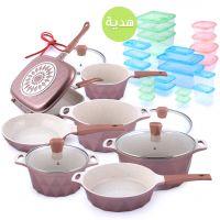 مجموعة أواني الطهي الكريستالية 11قطعة مع هدية