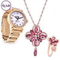 مجموعة مجوهرات التورمالين مع ساعة