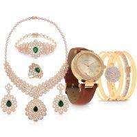 أشتري طقم مجوهرات الأماني الزمردي وأحصلي علي ساعة نسائية جلدية كلاسيكية