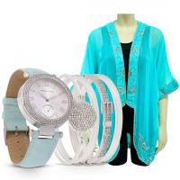 ساعة نسائية جلدية كلاسيكية باللون الأزرق تيفاني مع جاكيت أزرق
