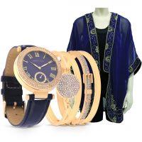 ساعة نسائية جلدية كلاسيكية باللون الأزرق الملكى مع جاكيت أزرق
