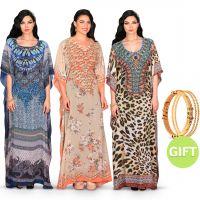 Shatha Printed Jalabiyas & Gift - Pack of 3