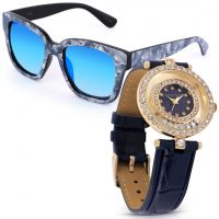 Animal Print Blue Watch with Sunglasses