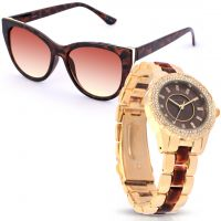 Animal Print Brown Watch with Sunglasses