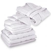 مجموعة الحمام باللون الأبيض - 8 قطع