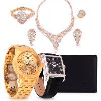 باقة ساعة اليد سينشناري مزدوجة الدوران و طقم مجوهرات