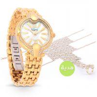 ساعة ذهبية مع وجه أبيض من بورجي مع هدية مجانية