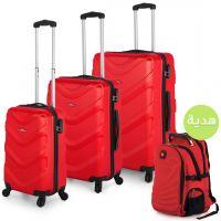 مجموعة حقائب سفر فايس أحمر من هاي فلاير 3 قطع مع هدية
