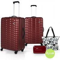 مجموعة حقائب سفر لكجري من كراون قطعتين مع هدايا - أحمر