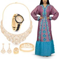 طقم مجوهرات رومانتيك روزيز من نوفا برايد مع فستان فلكلوري