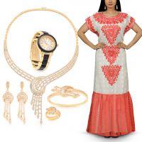 طقم مجوهرات رومانتيك مون لايت من نوفا برايد مع فستان فلكلوري