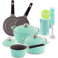 مجموعة أواني الطهي باللون الزمردي 8 قطعة - مع هدايا مجانية