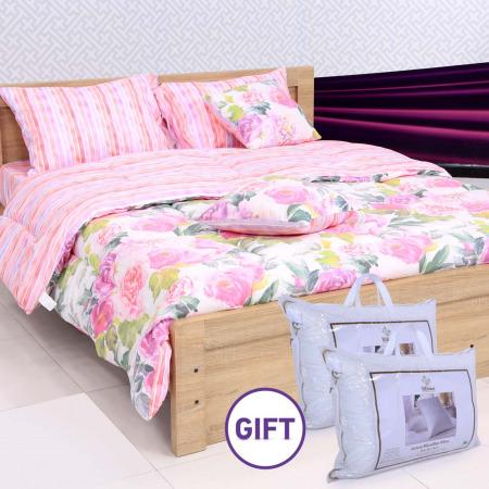 مجموعة أغطية فراش بتصميم الورود المُلونة مكونة من 8 قطع مع هدية