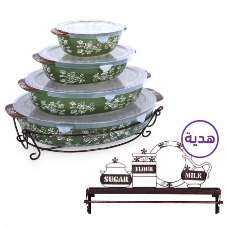 مجموعة أواني تقديم بتصميم زهور ملونة 8 قطع – أخضر مع حامل معدني هدية