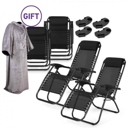 كرسي استلقاء مُضاد للجاذبية - مجموعة مكونة من 4 كراسي مع بطانية هدية