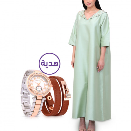 فستان ضحى مُطرز باللؤلؤ - مقاس L/XL مع هدية