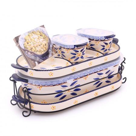 مجموعة أواني خبز سكوفال أولد ورلد أزرق - 6 قطع مع كتاب طهي