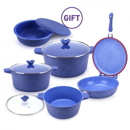 مجموعة أواني الطهي ديكاست 8 قطع مع وعاء تحضير المقلوبة - أزرق جرانيتي