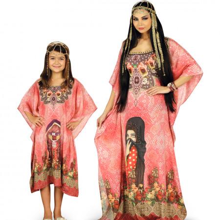 مجموعة جلابيات الأم والابنة باللون الاحمر