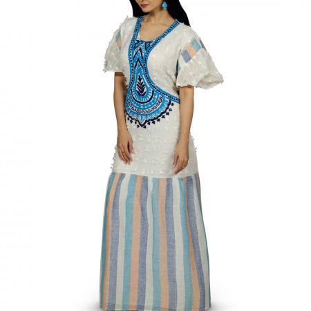 فستان فلكلوري متعدد الألوان من مزيونة