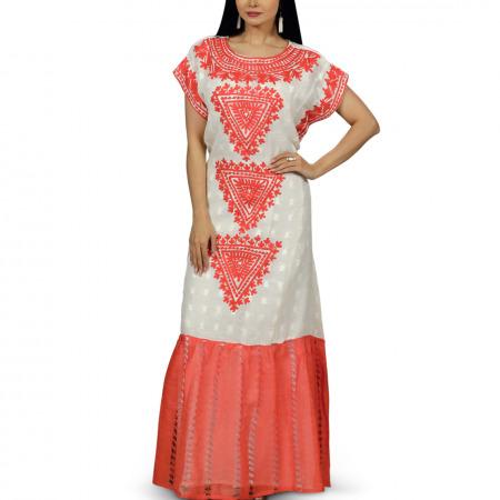 فستان فلكلوري مرجاني من مزيونة