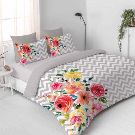 مجموعة أغطية فراش 11 قطعة تصميم زهري رمادي - سوبر كينج