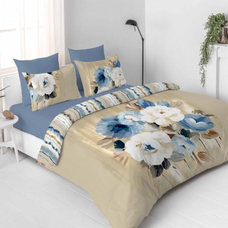 مجموعة أغطية فراش 11 قطعة تصميم زهري بيج - سوبر كينج