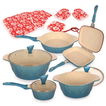 مجموعة أواني طهي مكونة من 8 قطع - أزرق
