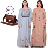 Hasna Embroidered Dress S/M - Pack of 2 & Gift