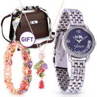 Silver Blue Dial Glitz Bezel Watch & Gifts