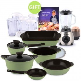 Iris Series Non-Stick Cookware Set of 9 & Gifts