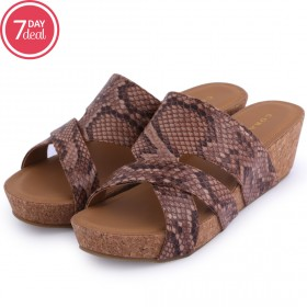 Brown Animal Print Wedge