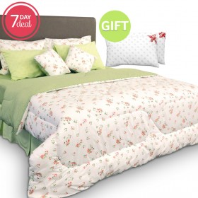 Reversible 9 Piece Comforter Set - Green & Gift