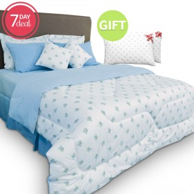 Reversible 9 Piece Comforter Set - Blue & Gift