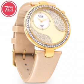 Ladies Metallic leather Crystal Watch
