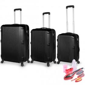 San Francisco Luggage Set of 3 - Black &  2-in-1 Steamer & Iron
