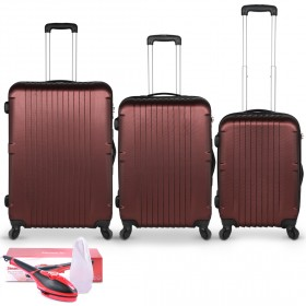 San Francisco Luggage Set of 3 - Red &  2-in-1 Steamer & Iron