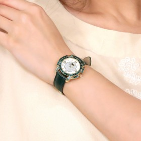 Ladies Emerald leather Crystal Watch