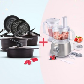 9 Piece Cookware Set & Food Processor