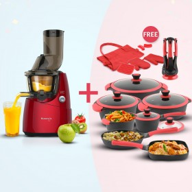 Slow Juicer - Red & 21 Piece Cookware Set
