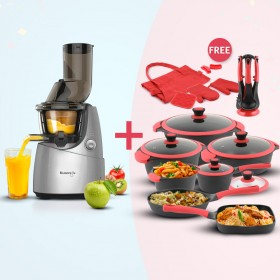 Slow Juicer - Silver & 21 Piece Cookware Set