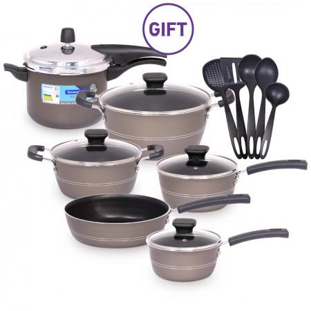 Sicilia 9PC Cookware Set Grey & Pressure Cooker