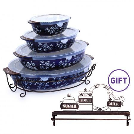 Floral Lace 8PCS Oval Baker Set - Blue with Metal Shelf