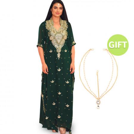 Al Malika Crystals Green Jalabiya & Gift