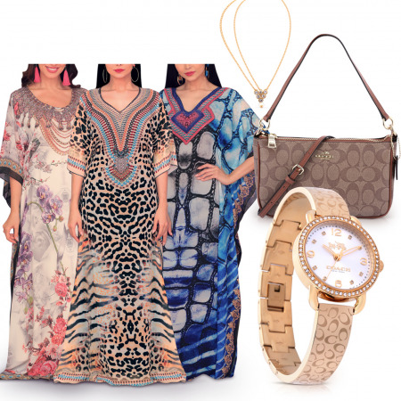 Trendy Watch Set & 3 Printed Jalabiyas
