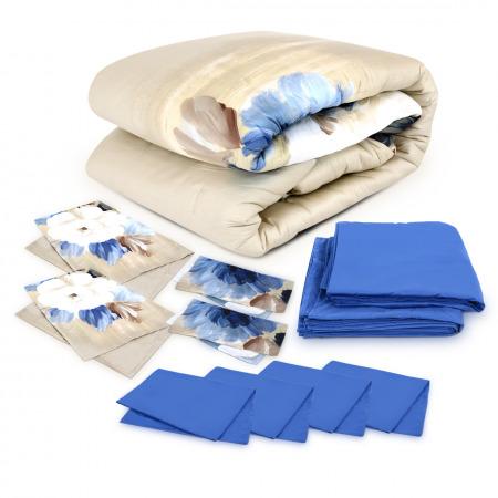 11PCs Sateen Comforter Set Floral Beige - Super King Size