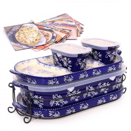 6 PC Squoval Floral Lace Bakeware Set Blue & Recipe Book