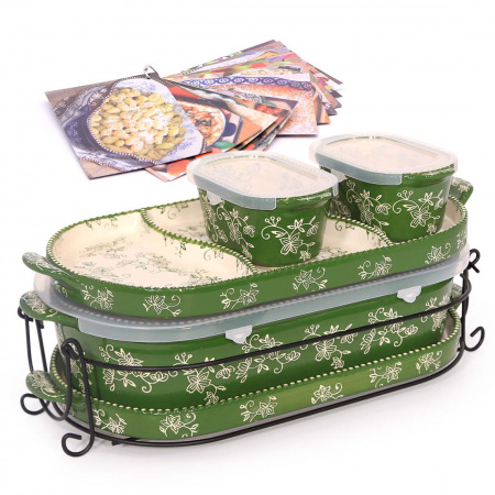 6 PC Squoval Floral Lace Bakeware Set Green & Recipe Book