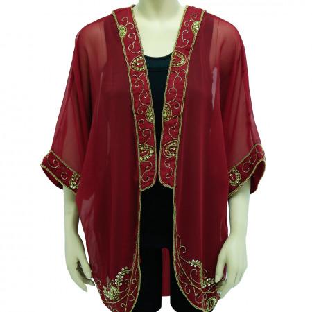 Sassy Maroon Jacket with Gold Embellishment