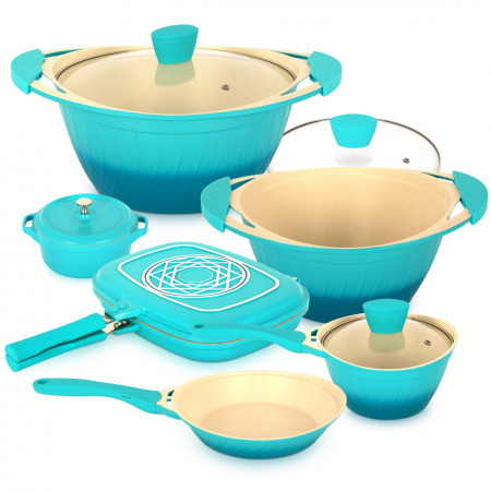 8 Pc Flora Cookware Set - Blue